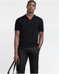 Zara | Black Viscose Polo Shirt for Men | Lyst