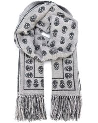 Alexander McQueen | Gray Skull-print Cold Weather Scarf | Lyst
