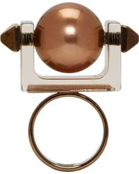 Caterina Zangrando - Metallic Tarnished Brass Studded Resin Ring - Lyst