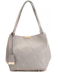 Burberry - Gray Embossed Check Shoulder Bag - Lyst