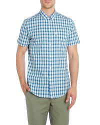 Ben Sherman | Blue Four Check Slim Fit Short Sleeve Shirt for Men | Lyst