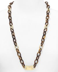 Michael Kors - Brown Long Link Necklace 30 - Lyst