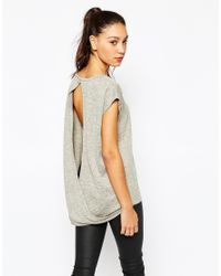 Daisy Street | Gray Space Dye Top With Open Drape Back - Grey | Lyst