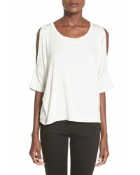 Project Social T - White Stripe Cold Shoulder Tee - Lyst