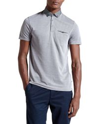 Ted Baker | Blue Hoxtan Woven Collar Polo Shirt for Men | Lyst