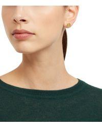 Tory Burch - Metallic Hex-logo Stud Earring - Lyst