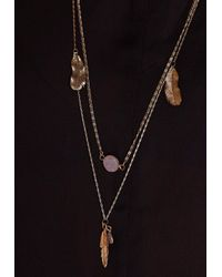 Missguided   Metallic Feather Delicate Layered Necklace Gold   Lyst