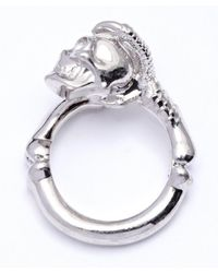 Alexander McQueen | Metallic Silver And Swarovski Crystal Claw Skull Ring | Lyst