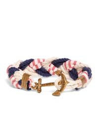 Brooks Brothers - Blue Kiel James Patrick Navy, White And Red Braided Bracelet for Men - Lyst