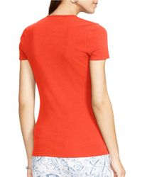 Lauren by Ralph Lauren | Orange Stretch-cotton T-shirt | Lyst