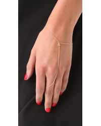 Jacquie Aiche | Metallic Ja Mini Cross Chain Finger Bracelet - Yellow Gold | Lyst
