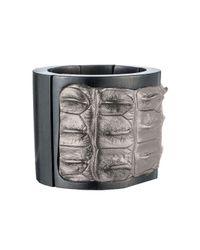 Nada Sawaya | Metallic J35 - Crocodile Stretch Cuff - Silver | Lyst