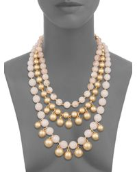Lydell NYC - Three Row Beaded Statement Necklace/pink - Lyst