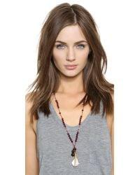 Chan Luu - Red Beaded Leaf Pendant Necklace - Garnet Mix - Lyst