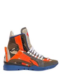 DSquared² | Green Camouflage Leather High Top Sneakers for Men | Lyst