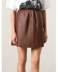 MSGM - Brown Pleated Skirt - Lyst