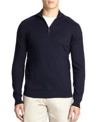 Saks Fifth Avenue | Blue Silk-blend Quarter-zip Sweater for Men | Lyst