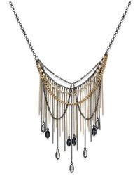 ABS By Allen Schwartz | Metallic Two-tone Stone Fringe Layered Necklace | Lyst