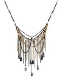 ABS By Allen Schwartz | Metallic Two-tone Stone Fringe Layered Necklace | Lyst