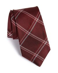 John Varvatos - Red Check Silk Tie for Men - Lyst