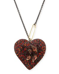 Alexis Bittar - Black Lucite Double-sided Crystal Heart Necklace - Lyst