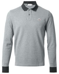 Moncler - Gray Contrasting Collar Polo Shirt for Men - Lyst