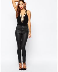 Missguided | Black Highwaisted Coated Skinny Jeans | Lyst