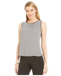 Jones New York - Black Collection Petite Printed Crew-Neck Shell Top - Lyst