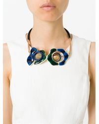 Marni - Natural Two Flower Pendant Necklace - Lyst