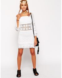 ASOS - White Crochet Dress With Off Shoulder - Lyst