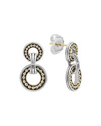 Lagos - Metallic Enso Silver & 14k Two-circle Drop Earrings - Lyst