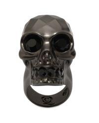 Alexander McQueen - Gray Textured Skull Ring - Lyst
