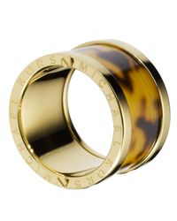 Michael Kors | Metallic Gold-Tone Tortoise Barrel Ring | Lyst