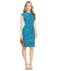 Lauren by Ralph Lauren - Blue Petite Printed Ruched Dress - Lyst