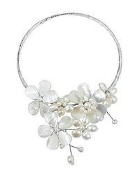 Aeravida | Multi Flower White Pearl Cluster Choker Wrap Necklace | Lyst