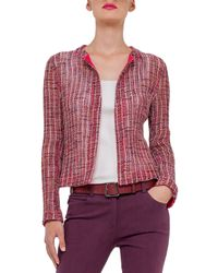 Akris - Red Open-Weave Round-Neck Jacket - Lyst