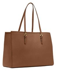 MICHAEL Michael Kors | Brown Jet Set Leather Large Eastwest Tote | Lyst