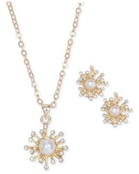Jones New York | Metallic Gold-Tone Firework Pendant Necklace And Earring Set | Lyst