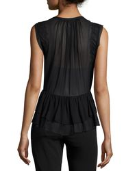 Rebecca Taylor - Black Sleeveless Lace-trim Silk Top - Lyst