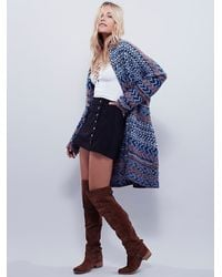 Free People | Blue Womens Iona Pattern Cardi | Lyst