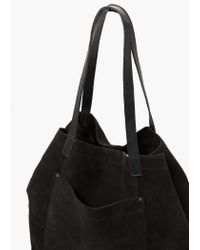 Mango - Black Suede Shopper Bag - Lyst