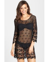 J Valdi - Black Crochet Cover-up Tunic - Lyst