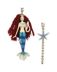 Betsey Johnson - Metallic Goldtone Mermaid Starfish Linear Mismatch Earrings - Lyst