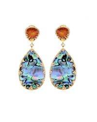 Isharya | Multicolor Abalone and Crystal Goldplated Earrings | Lyst