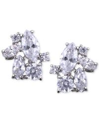 Givenchy - Metallic Silver-tone Crystal Cluster Earrings - Lyst