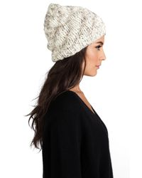 Michael Stars - Natural Hint Of Sparkle Hand Knit Slouch Hat in Cream - Lyst