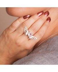 Anna Byers | Metallic Rose Quartz Wing Ring | Lyst