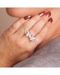 Anna Byers - Metallic Rose Quartz Wing Ring - Lyst