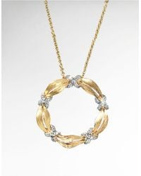 Effy | Metallic D Oro 14 Kt Yellow Gold And Diamond Pendant | Lyst