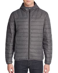 Saks Fifth Avenue | Gray Hooded Nylon Puffer Jacket for Men | Lyst